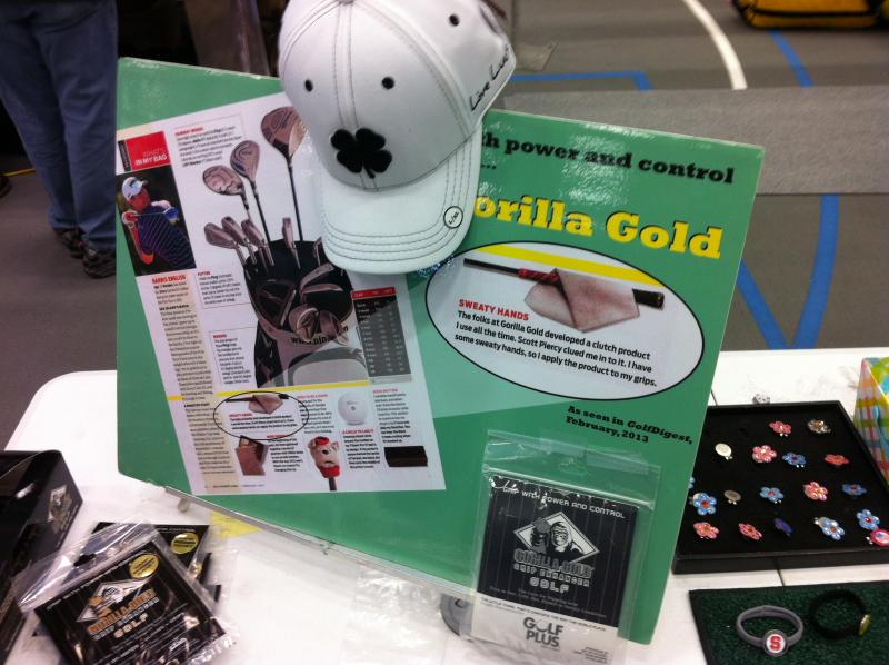 "Products for sale include ""Gorilla Gold"" which they say will keep your hands on the club grip no matter the weather"