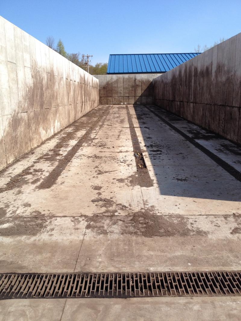 One of the 100-foot bays where the organic material sits to decompose
