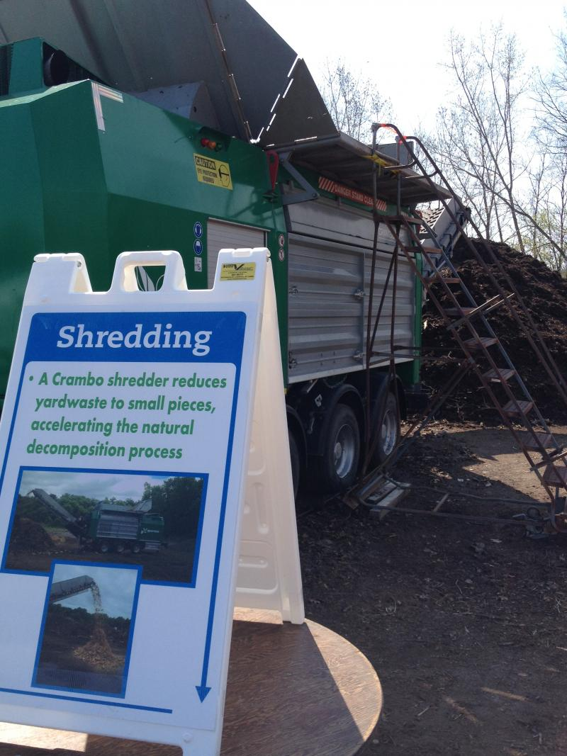 Yard waste is shredded before it's added to the food waste