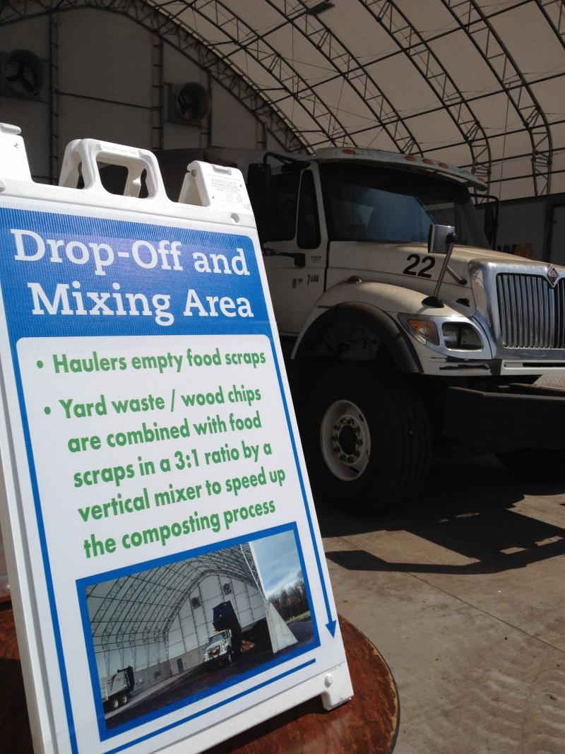 The drop-off and mixing area is the next destination for the food scraps