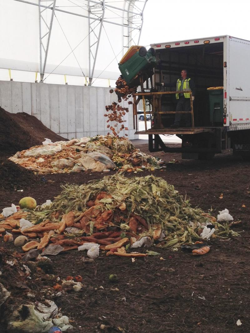 Food waste arrives at the Amboy Facility