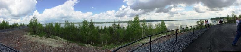 A panoramic view of Onondaga Lake from the new portion of the West Shore Trail.