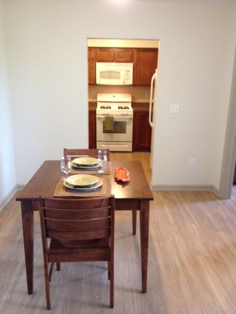 Kitchen and Dining area in the two bedroom apartment.