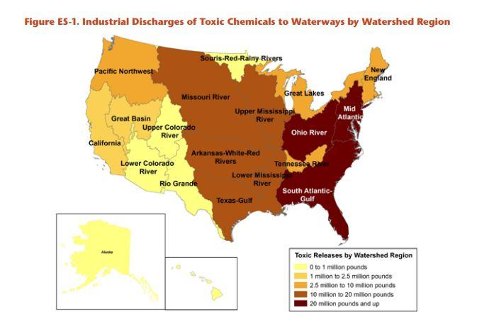 map of the US with shading to show toxic pollution; NYS's Mid-Atlantic watershed is one of the worst