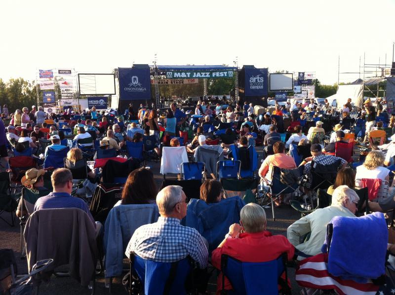 A supportive crowd enjoying Jazz Fest
