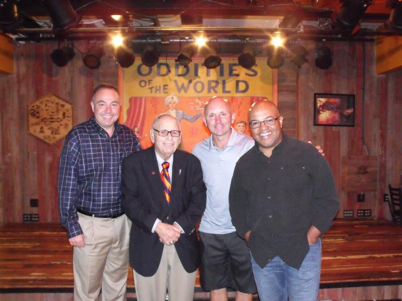 WAER Hall of Famers Bill Roth, Hank Greenwald, Sean McDonough and Mike Tirico at the Dinosaur BBQ