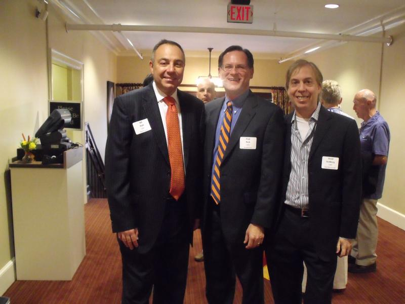 Bill Roth, Paul Peck '87 and David Goldberg '86 during reception