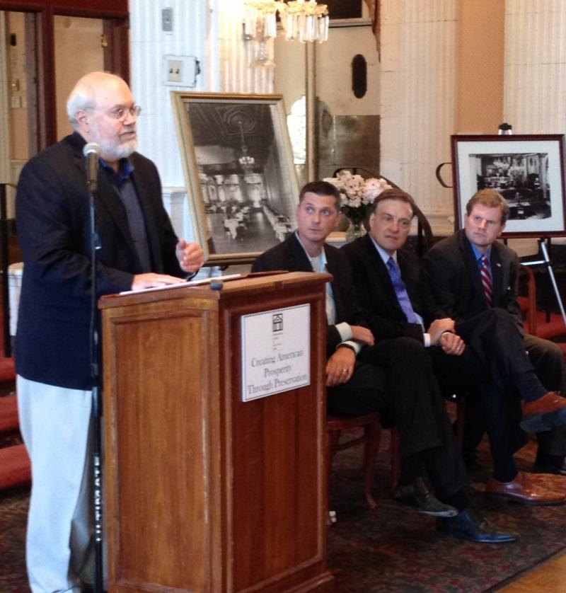Hotel Syracuse Lead Developer Ed Riley, left, at a press conference Tuesday at the Persian Terrace in the Hotel Syracuse.  Seated from left are Centerstate CEO Pres. Rob Simpson, Preservation League of NYS Pres. Jay DiLorenzo, and Rep. Dan Maffei.
