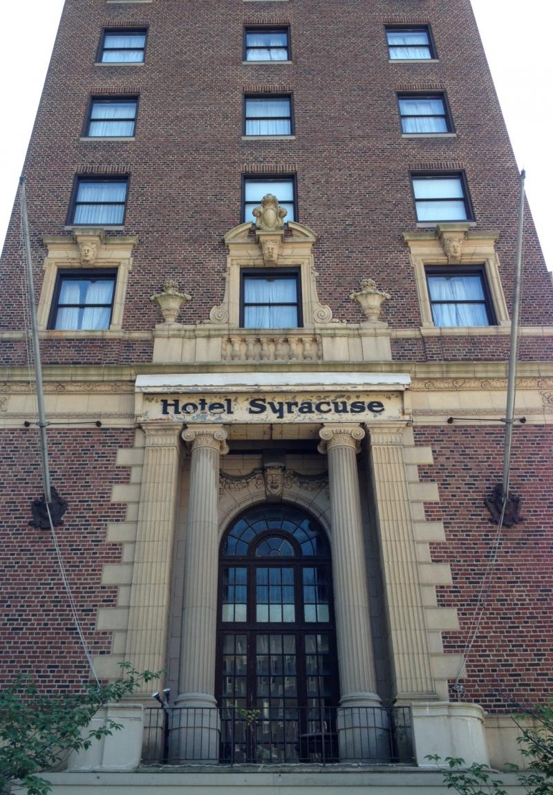 The front of the Hotel Syracuse facing E. Onondaga St.