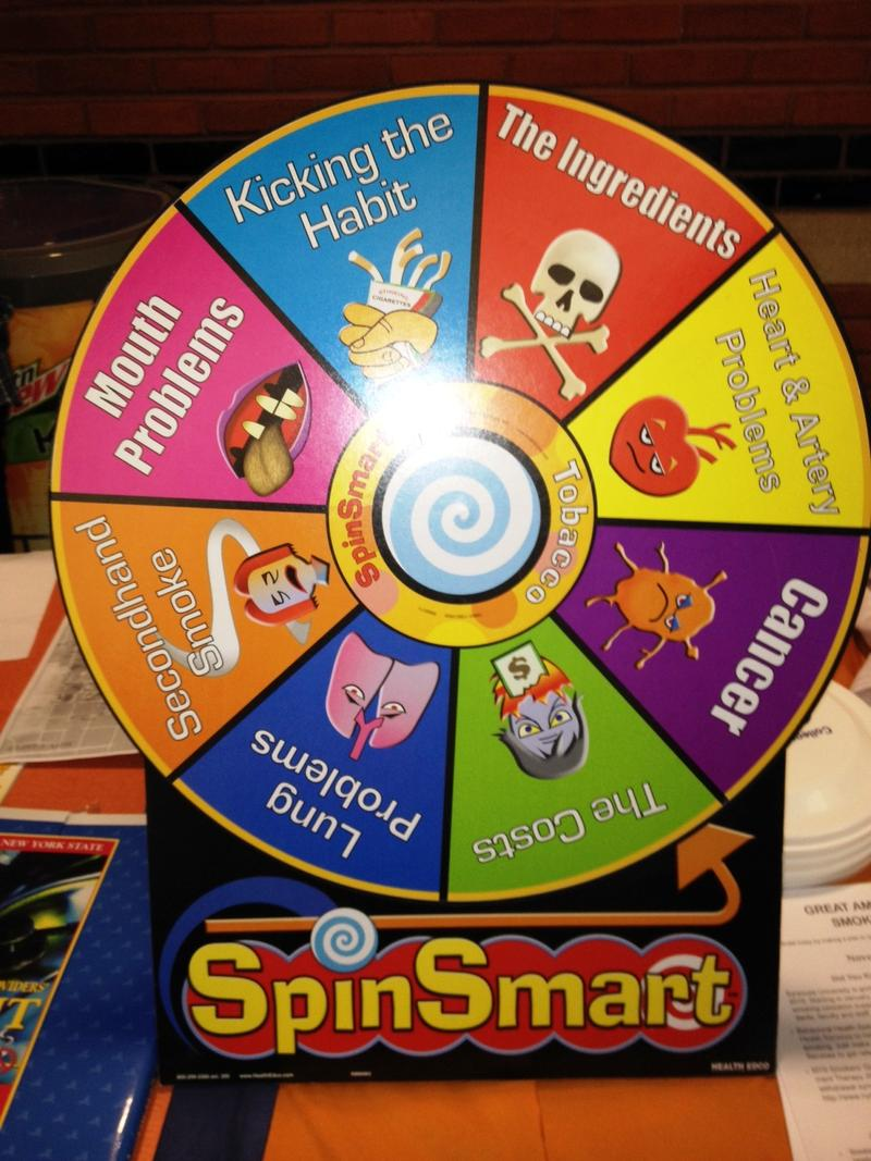 The SpinSmart wheel illustrates the various risks associated with smoking.