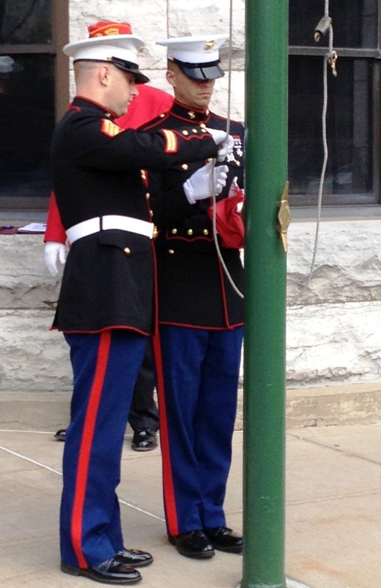 Preparing the flag to be raised.