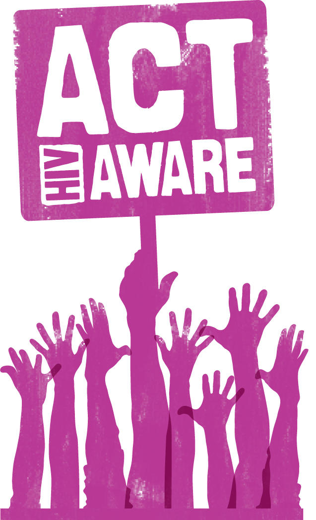 purple logo with hands reaching, holding a sign saying ACT AWARE, HIV