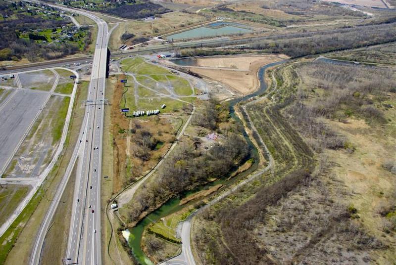 Aerial photo of Nine Mile Creek before restoration.