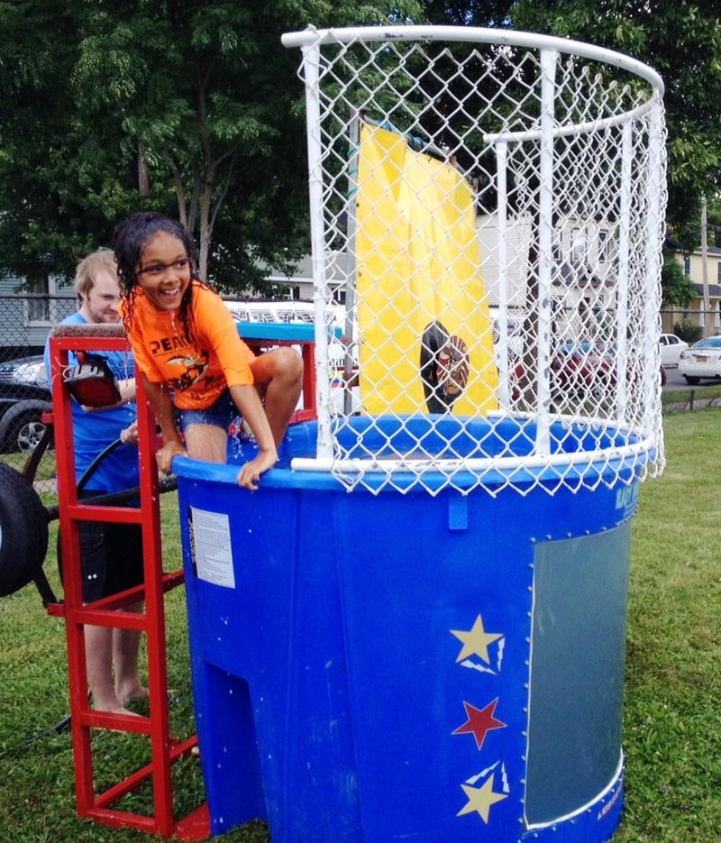 She got dunked!