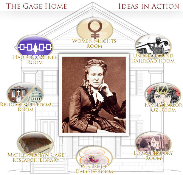 The Gage Home is now home to the Matilda Joslyn Gage Foundation, with numerous displays regarding local history and peace-and-justice causes.