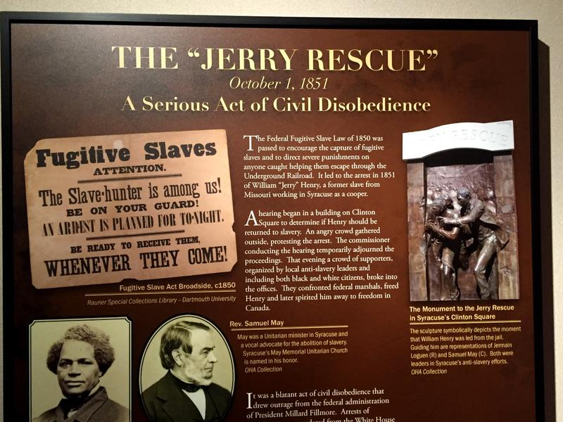 The Jerry Rescue is a key part of Sryacuse's anti-slavery past.  Jermain Loguen (L) and Samuel May, pictured on this OHA display, were part of the event.