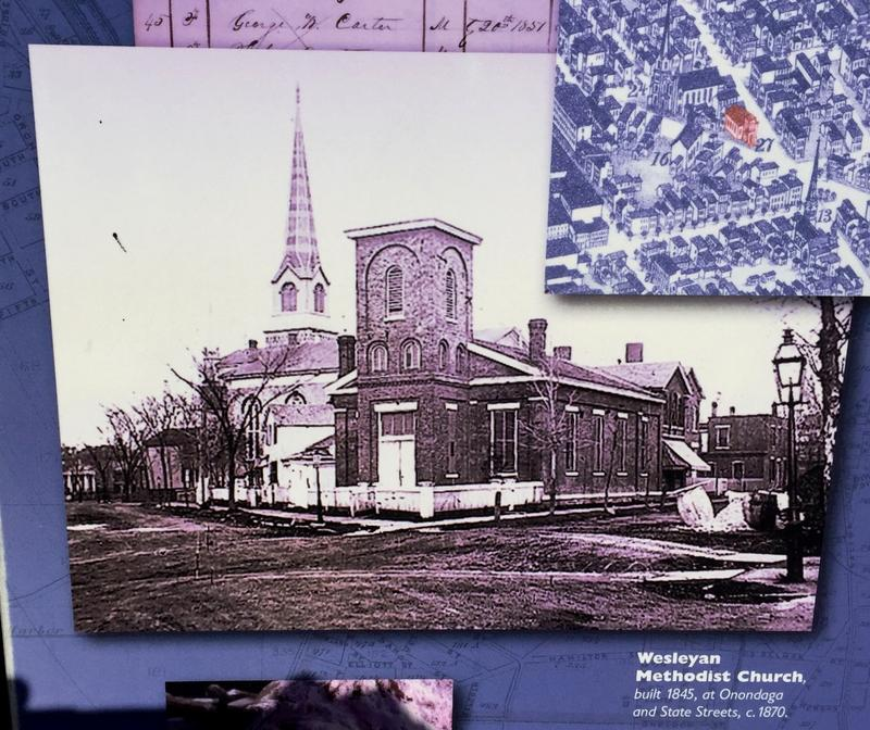 What the church looked like back in the 19th century.  This picture, and mroe of the story, are on a plaque outside the building.