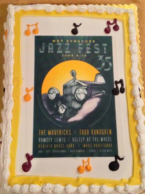 The cake highlighted this year's lineup for the June 9th and 10th concerts.