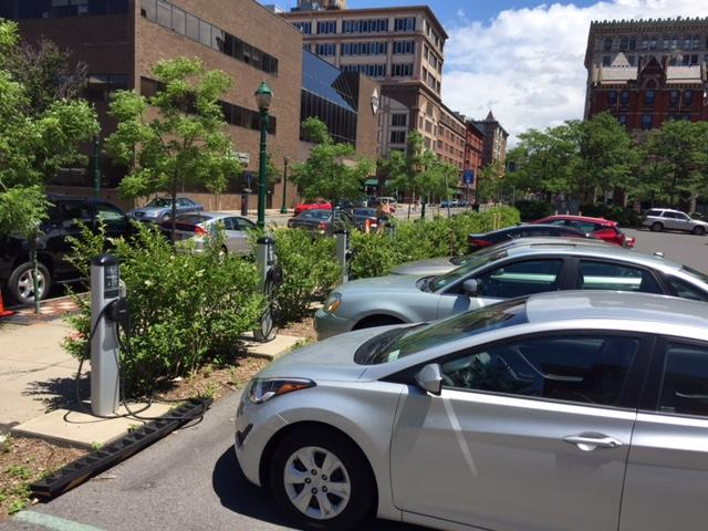 The Washington Street lot has 15 chargers, but people with non-electric cars have no problem using the spaces.