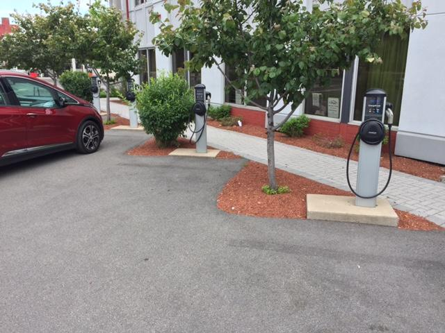 These charging stations are at Synapse on Erie Boulevard in Syracuse.