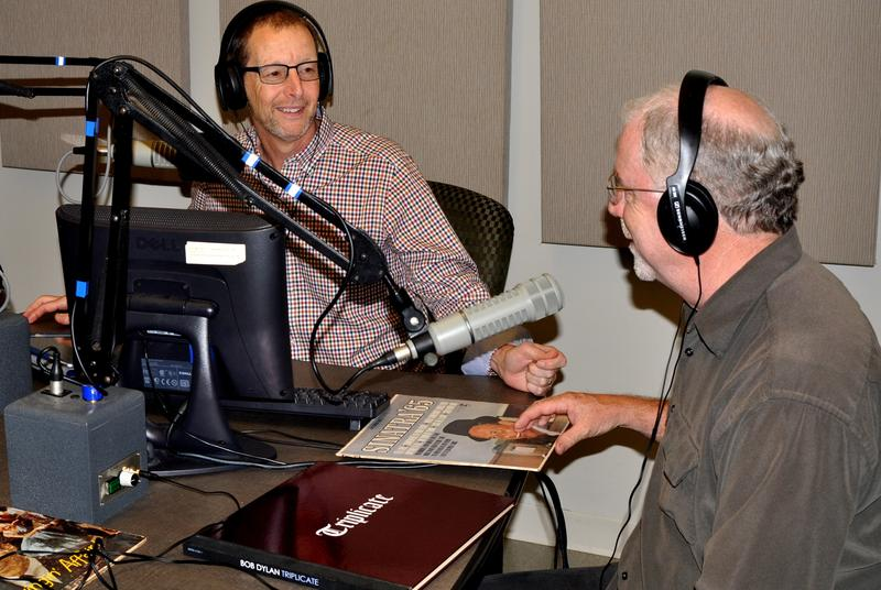 Live Space Entertainment's Tom Honan (R) with WAER's Chris Bolt on the studio with Brook Babcock and Will Freidwald on the line