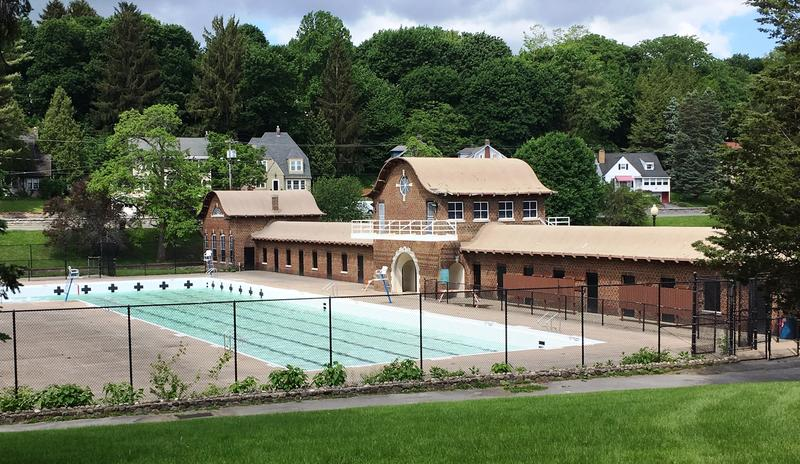 The bath house and pool at Upper Onondaga Park.