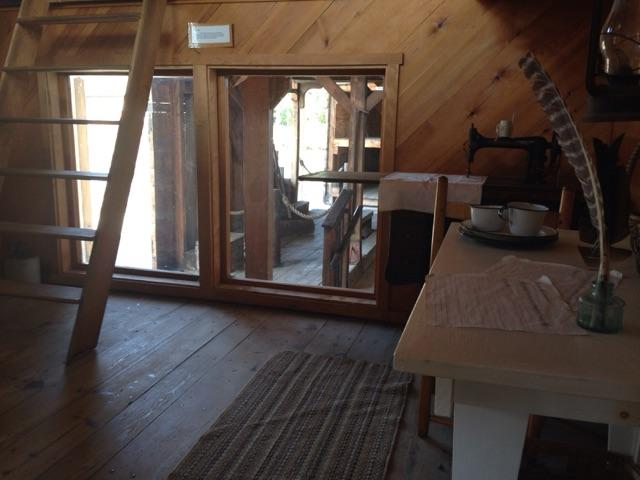 A look inside the living quarters of a replica canal boat.