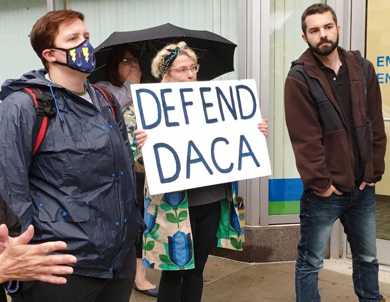 Protesters gather in support of DACA.