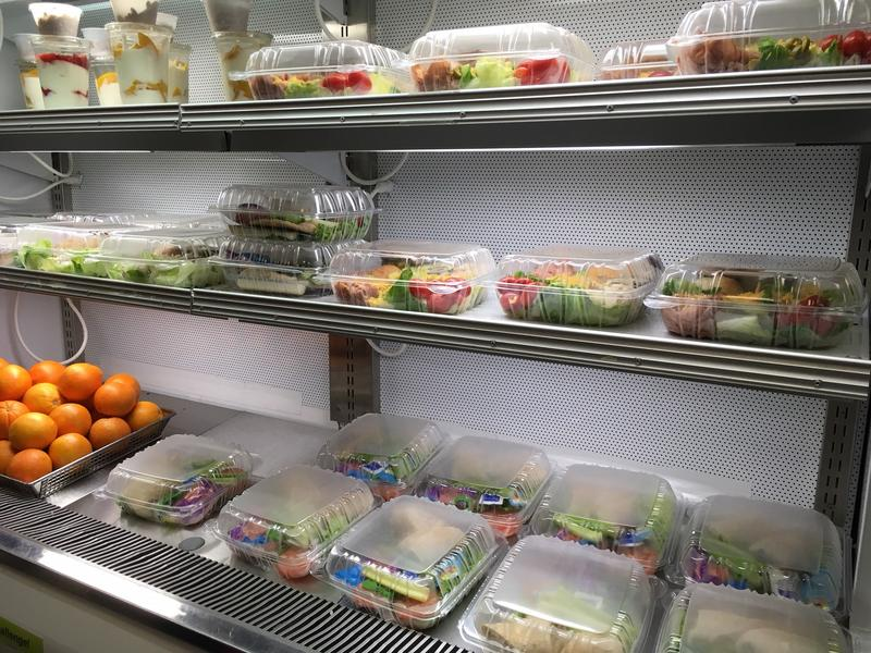 Healthy salads and fruit are popular choices.