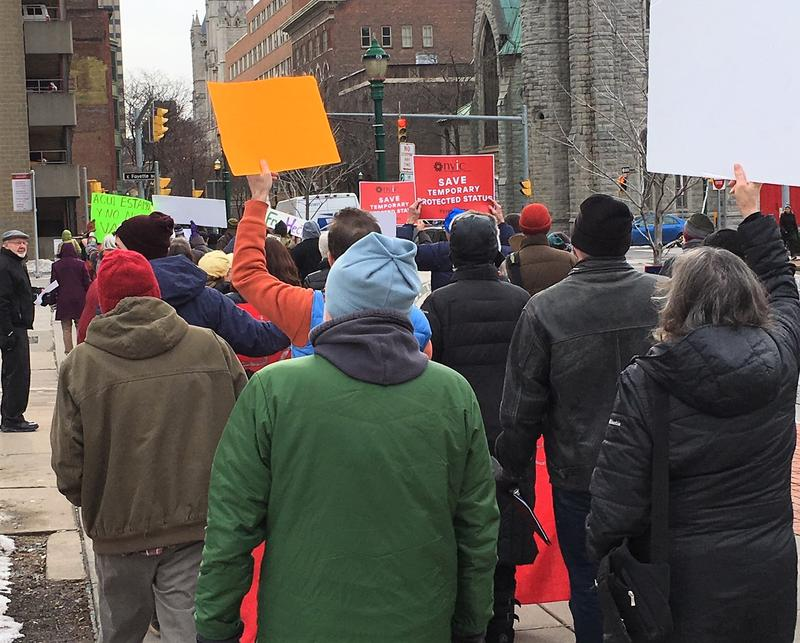 Marchers make their way down Montgomery St.