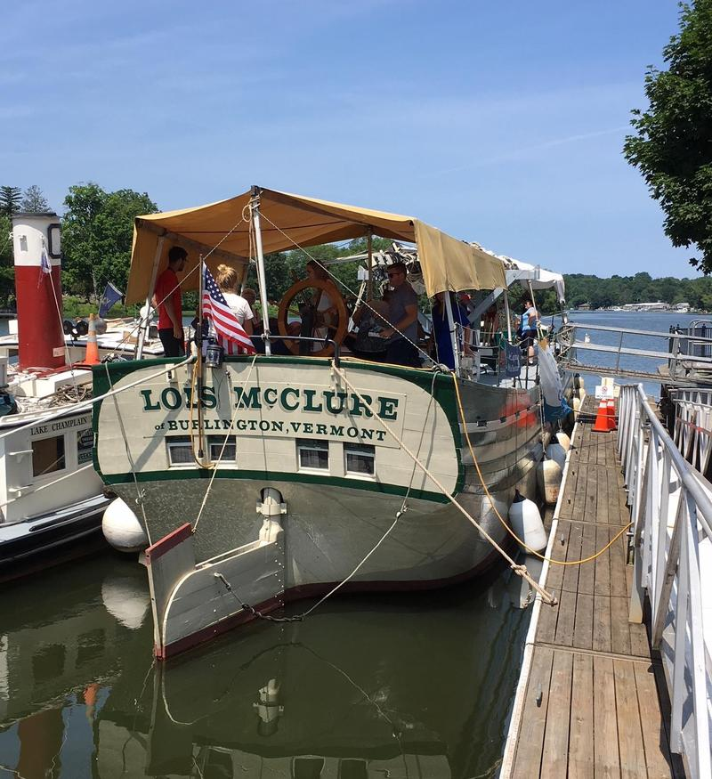 The Lois McClure replica canal boat is accompanying CMoG's GlassBarge on it's journey across the state.