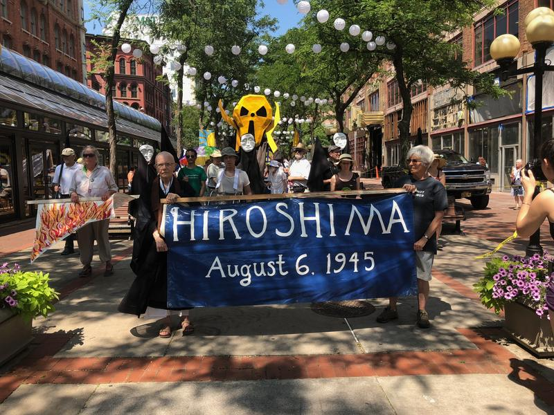 Marchers took to the streets of Downtown Syracuse on Monday in honor of the 73rd anniversary of the dropping of the atomic bomb on Hiroshima.
