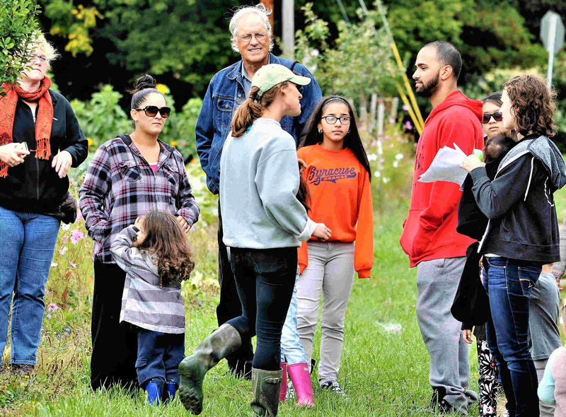 Tom Chapin visiting Brady Farm in Syracuse during last year's Farm Fest.