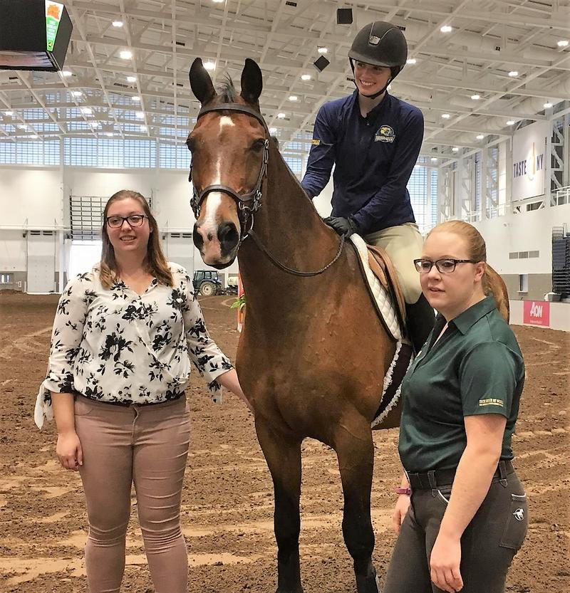 Cazenovia College senior Keeley Gambino and horse Twister take a photo op after their demonstration.