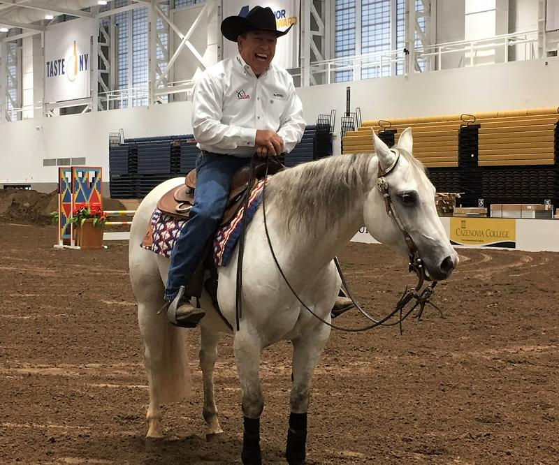 Tom Hoyt and Pinstripe Benz pause after their reining demonstration.