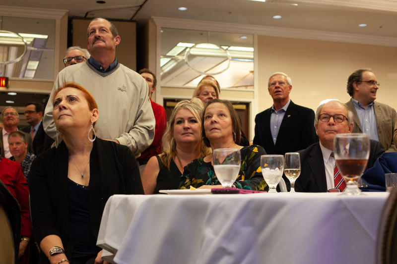 Supporters of GOP candidates gathered at the University Sheraton Tuesday night to watch results