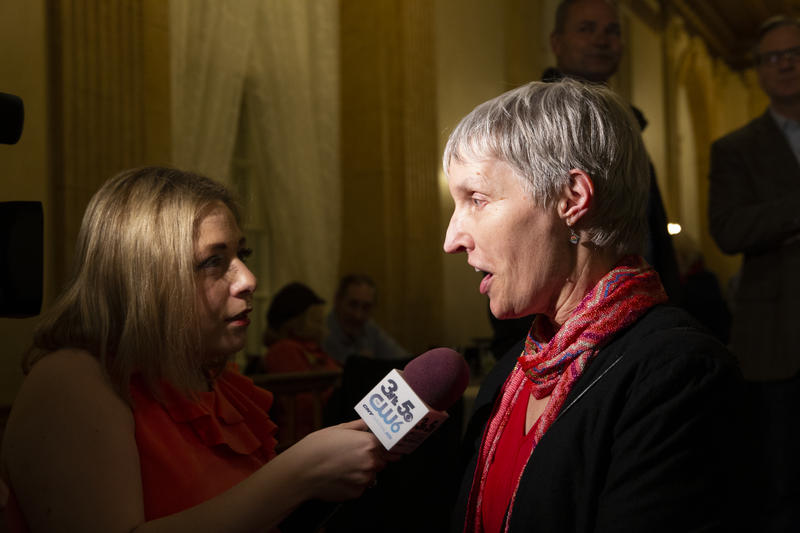 Rachel May, a candidate for State Senate, is interviewed by a CNYCentral reporter.