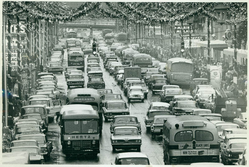Cars filled South Salina Street in December of 1960.
