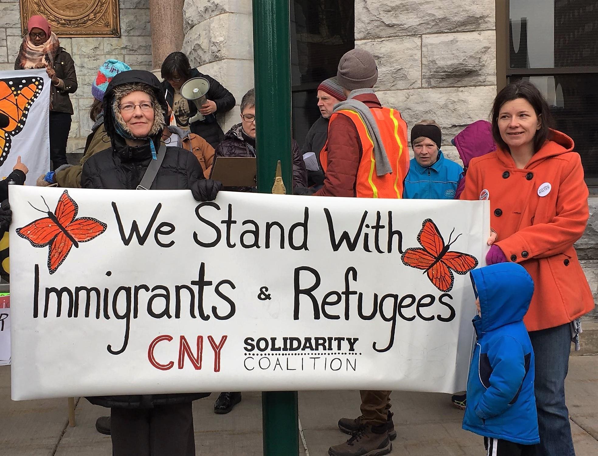 "Syracuse Demonstrators Mark Anniv of Airport ""Muslim Ban"" Protest"