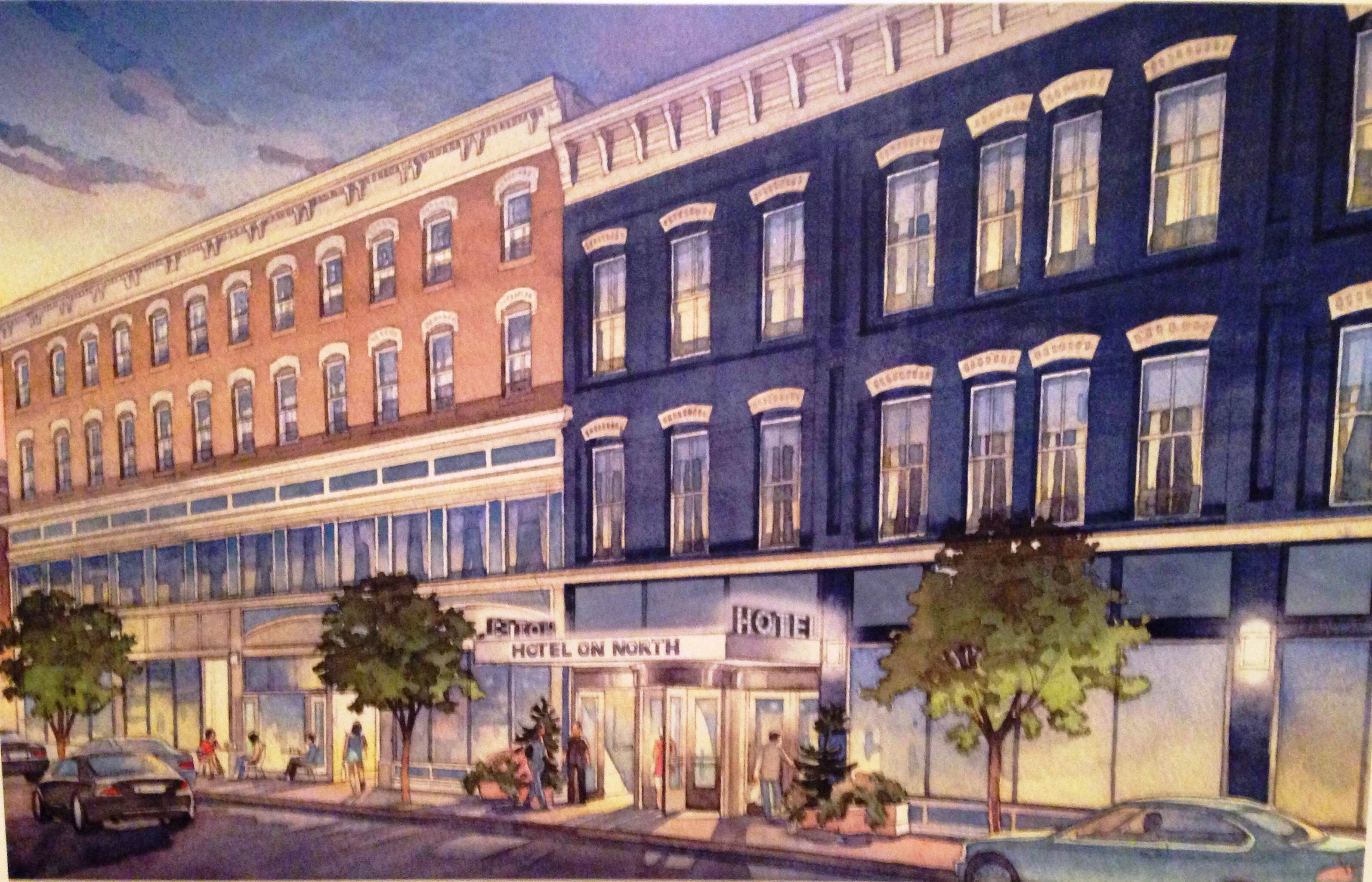 The proposed hotel on north is expected to open in spring 2015