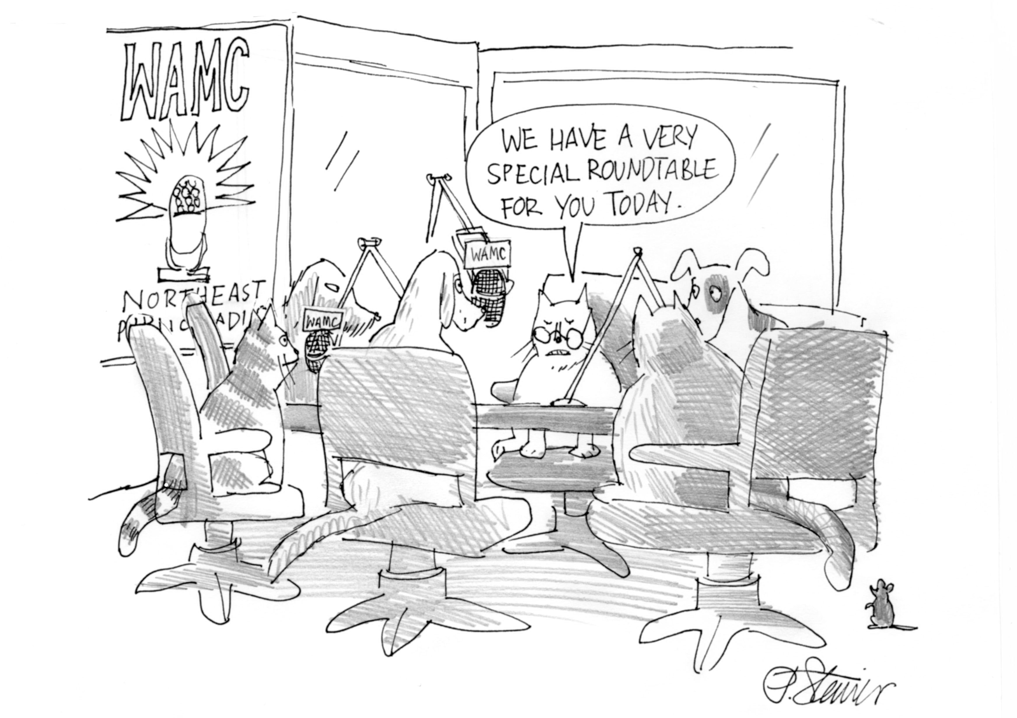 Square Expanding Table Round Table Discussion Cartoon