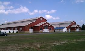 Horse barns built in 2012 at the Three County Fairgrounds in Northampton, MA as a part of a phased redevelopment