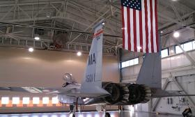A Massachusetts Air National Guard F-15 in a hanger at Barnes Airport
