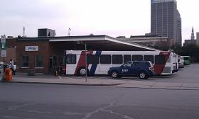 PVTA buses in downtown Springfield, MA