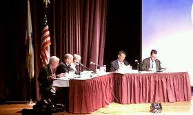 The Massachusetts Gaming Commission during a meeting last summer at Springfield Technical Community College