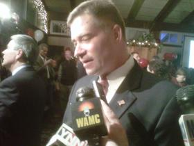 Congressman Chris Gibson speaks with reporters in Valatie on Election night.