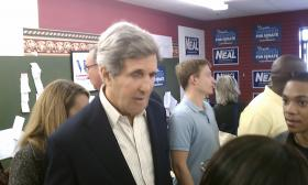 US Senator John Kerry (D-MA) greets campaign volunteers at the western Mass. Democratic Campaign Headquarters in Springfield