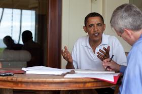President Barack Obama meeting with National Security Council chief of staff Denis McDonough on Dec. 29, 2009, in Kailua, Hawaii