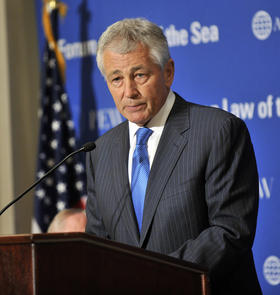 Senator Chuck Hagel speaks as he introduces Secretary of Defense Leon E. Panetta and Chairman of the Joint Chiefs of Staff Gen. Martin E. Dempsey shortly before they deliver remarks as the keynote speakers at the Forum on the Law of the Sea Convention held at the Willard Intercontinental Washington Hotel, Washington D.C, May 9, 2012.