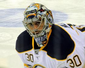Ryan Miller, goaltender for the Buffalo Sabres, warms up before a game against the Pittsburgh Penguins, October 15, 2011 at Consol Energy Center in Pittsburgh, PA.